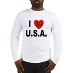 I Love U.S.A. (Front) Long Sleeve T-Shirt