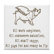 Pigs Ready to Fly Tile Coaster