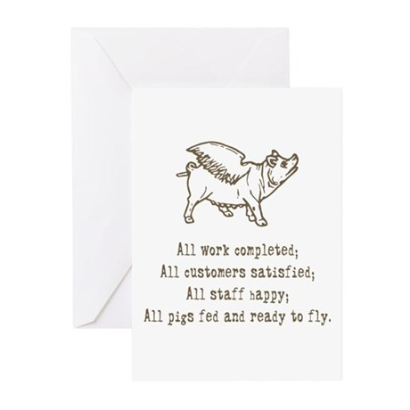 Pigs Ready to Fly Greeting Cards (Pk of 10)