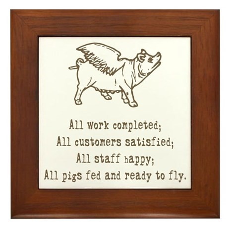 Pigs Ready to Fly Framed Tile