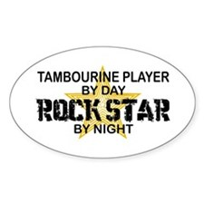 Tambourine Player Rock Star Oval Stickers