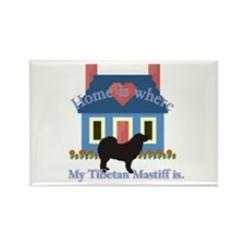 Tibetan Mastiff Home Is Rectangle Magnet (100 pack