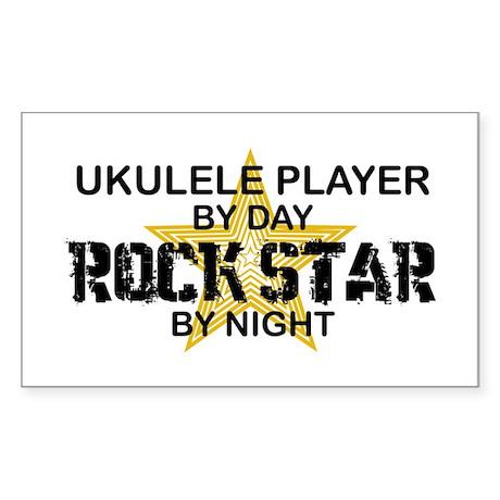 Ukulele Player Rock Star Rectangle Sticker