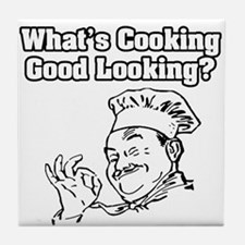 """What's Cooking Good Looking"" Tile Coaster"