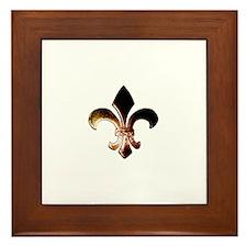 Fleur De Lis Rustic Framed Tile