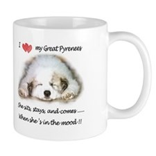 Great Pyrenees Sits Stays Comes Mood, Mug Mugs