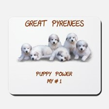 "Great Pyrenees Mousepad ""Puppy Power"""