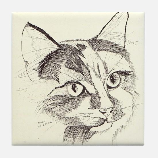 calico kitty Tile Coaster