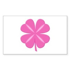 4 Leaf Pink Clover Rectangle Decal