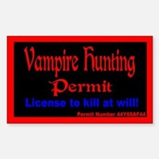 Vampire Hunting Permit Rectangle Decal