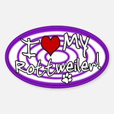 Hypno I Love My Rottweiler Oval Sticker Purp