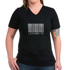 Locksmith Barcode Women's V-Neck Dark T-Shirt