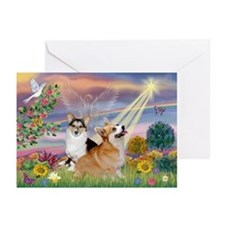 Cloud Angel Welsh Corgi Greeting Cards (Pk of 10)