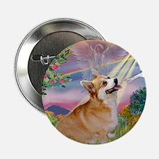 Cloud Angel Welsh Corgi Button