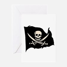 Calico Jack Pirate Flag Greeting Cards (6- Blank)