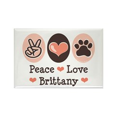 Peace Love Brittany Rectangle Magnet