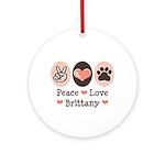 Peace Love Brittany Ornament (Round)