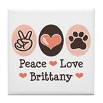 Peace Love Brittany Tile Coaster
