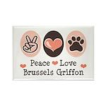 Peace Love Brussels Griffon Rectangle Magnet (100