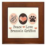 Peace Love Brussels Griffon Framed Tile