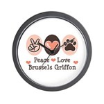 Peace Love Brussels Griffon Wall Clock