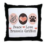 Peace Love Brussels Griffon Throw Pillow