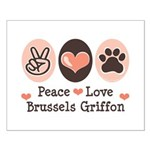 Peace Love Brussels Griffon Small Poster