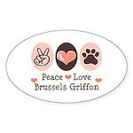 Peace Love Brussels Griffon Oval Sticker