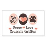 Peace Love Brussels Griffon Rectangle Sticker