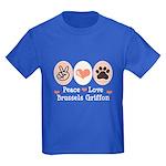 Peace Love Brussels Griffon Kids Dark T-Shirt