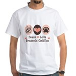 Peace Love Brussels Griffon White T-Shirt