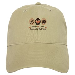 Peace Love Brussels Griffon Baseball Cap