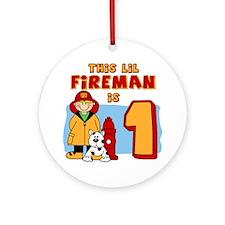 Fireman First Birthday Ornament (Round)