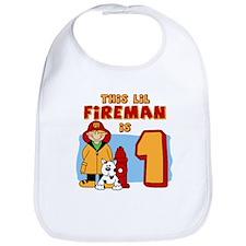 Fireman First Birthday Bib