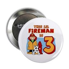 "Fireman 3rd Birthday 2.25"" Button"