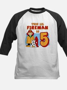 Fireman 5th Birthday Kids Baseball Jersey