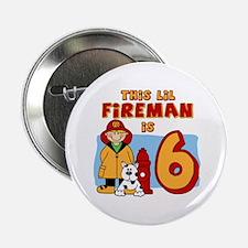 "Fireman 6th Birthday 2.25"" Button"