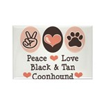Peace Love Coonhound Rectangle Magnet