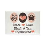 Peace Love Coonhound Rectangle Magnet (100 pack)