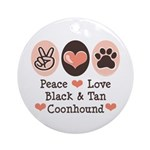 Peace Love Coonhound Ornament (Round)