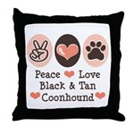 Peace Love Coonhound Throw Pillow