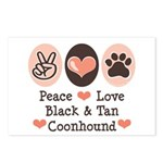 Peace Love Coonhound Postcards (Package of 8)