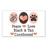 Peace Love Coonhound Rectangle Sticker