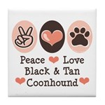 Peace Love Coonhound Tile Coaster
