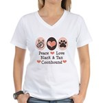 Peace Love Coonhound Women's V-Neck T-Shirt