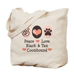 Peace Love Coonhound Tote Bag