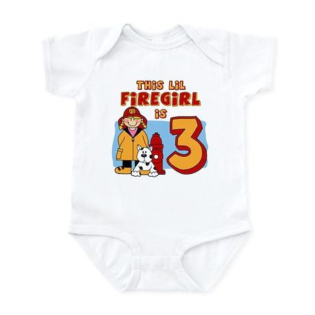 Firegirl 3rd Birthday Infant Bodysuit
