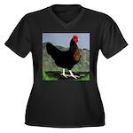 Sex-link Hen Women's Plus Size V-Neck Dark T-Shirt