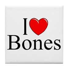 """I Love Bones"" Tile Coaster"