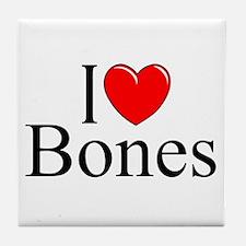 """I Love Bones"" Tile Coaster"